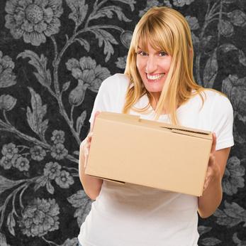 Woman Holding Cardboard box