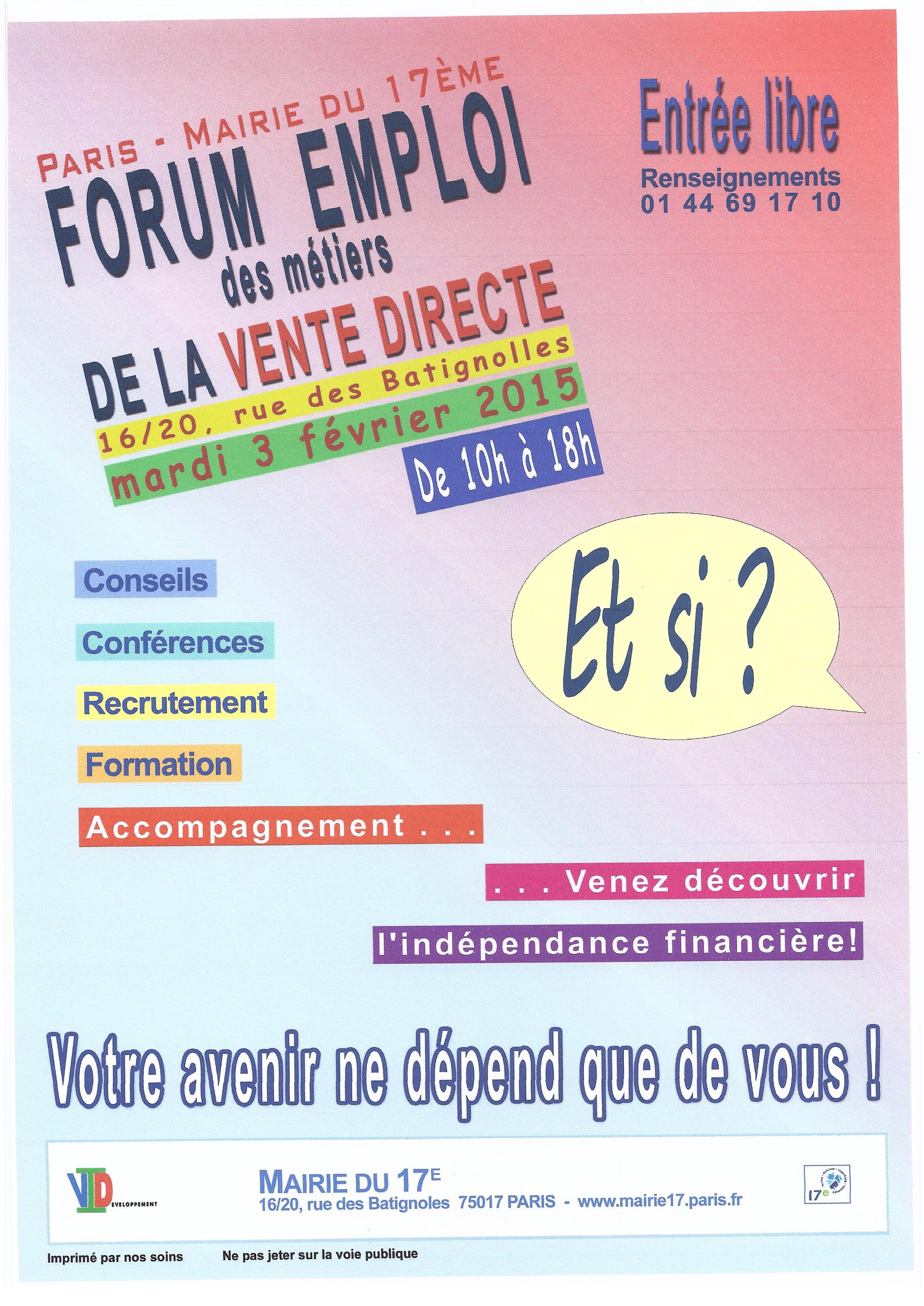 Forum emploi des m tiers de la vente directe un jour une - Salon emploi paris 2015 ...